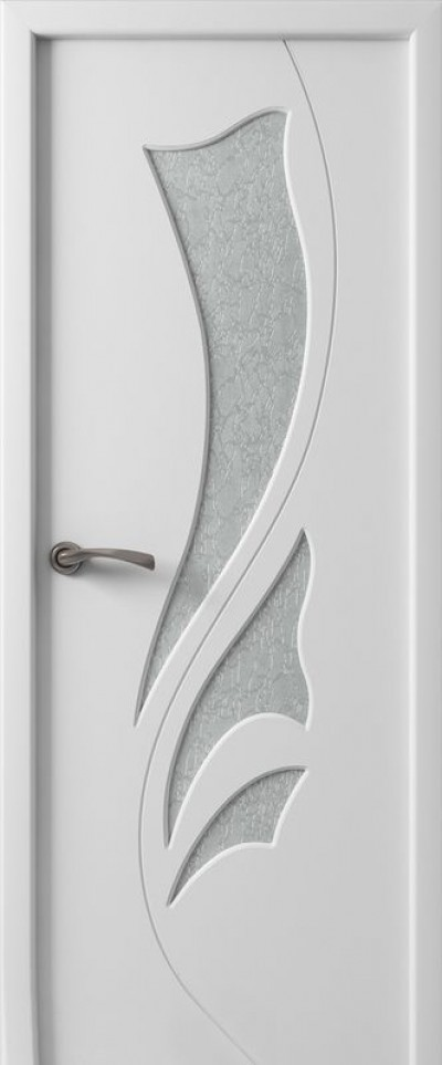 Дверь «Лилия» белая эмаль со стеклом