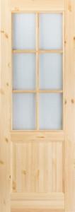 Дверь М12 сосна бесцветный лак со стеклом